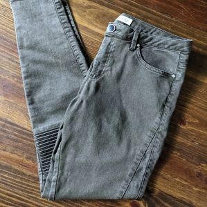 Zara Gray Green Stretchy Skinny Moto Jeans